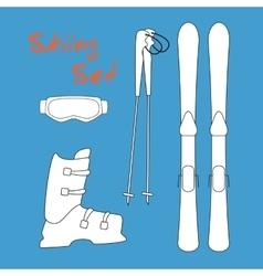 Set icon of winter sports equipment icons - ski vector image
