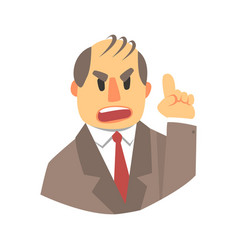 angry man pointing up colorful cartoon character vector image