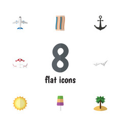 Flat icon season set of aircraft coconut sundae vector