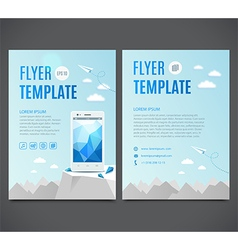 Flyer template with white smartphone vector image vector image