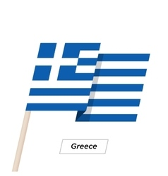 Greece Ribbon Waving Flag Isolated on White vector image