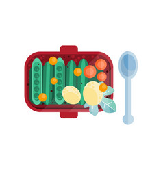 green pea pods tomatoes and potatoes at lunch box vector image
