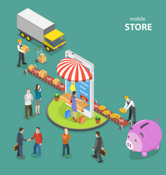 mobile store flat isometric low poly concept vector image vector image