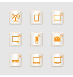 Paper icons set wireless connection vector image