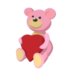 Pink teddy bear with heart cartoon icon vector image