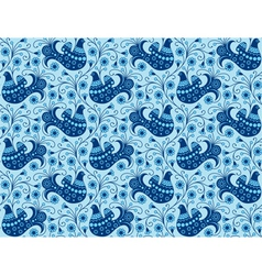 Blue seamless background with birds vector image