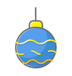christmass ball flat line style vector image