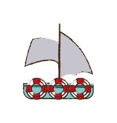 sailboat recreation travel color sketch vector image