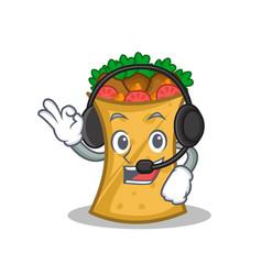 with headphone kebab wrap character cartoon vector image vector image