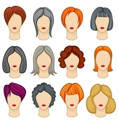 Womens cartoon hair hairstyles collection vector image vector image
