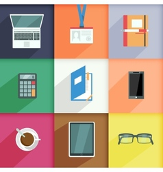 Workplace Business Icons Set vector image vector image
