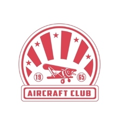 Aircraft Club Red Emblem Design vector image vector image
