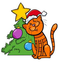 cat with christmas tree cartoon vector image
