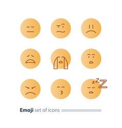 Emoji icons emoticon symbols face expression signs vector