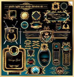 golden labels and design elements vector image