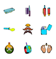 keeker icons set cartoon style vector image