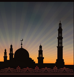 mosque with minaret vector image