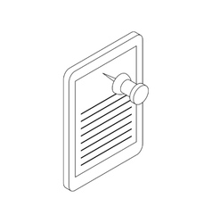 Note paper and pin icon isometric 3d style vector image