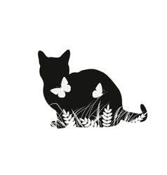 Silhouettes of cat with butterflies vector image