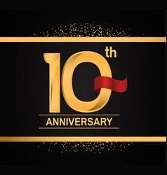 10 years anniversary logotype with premium gold vector
