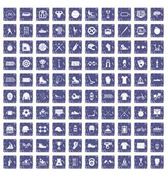 100 sport team icons set grunge sapphire vector