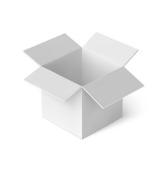 3d open white box realistic package cardboard box vector image