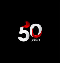 50 years anniversary celebration white and red vector