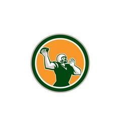 American Football QB Throwing Circle Retro vector image