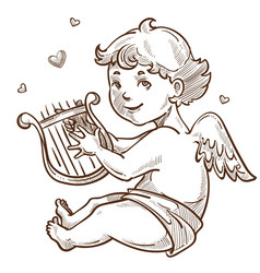 angel with harp and wings cupid valentines day vector image
