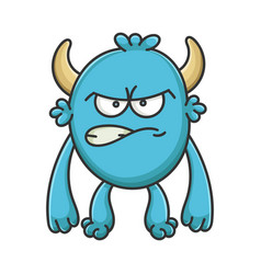 Angry cartoon furry creature monster vector