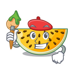 Artist fresh yellow watermelon on character vector