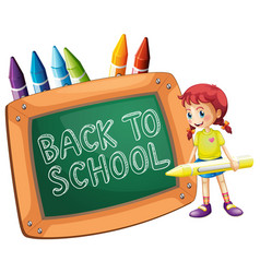 Back to school template with girl vector