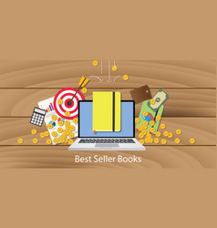best seller books with laptop goals target chart vector image