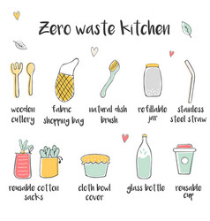 Big set of icons for zero waste kitchen vector