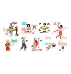 Blogging set doodle happy characters making video vector