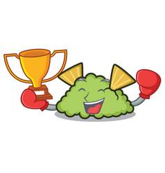 Boxing winner guacamole mascot cartoon style vector
