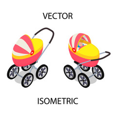 bright baby stroller for summer walks vector image
