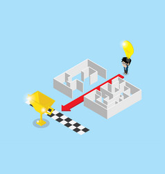 Businessman use lightbulb to separate maze vector