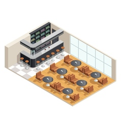 Cafe Interior Isometric vector