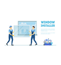 Cartoon color characters people with window vector