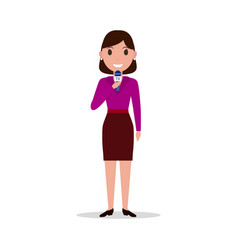 cartoon girl reporter with a microphone vector image