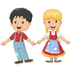 Cartoon little kid happy hansel and gretel vector image