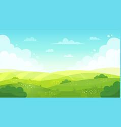 Cartoon meadow landscape summer green fields view vector