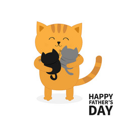 Cat hugging two little baby kitten happy fathers vector