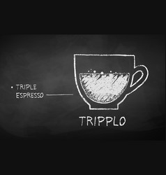Chalk drawn sketch tripplo coffee recipe vector
