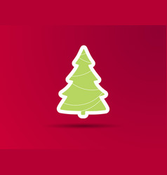 christmas tree on a red background icon with vector image