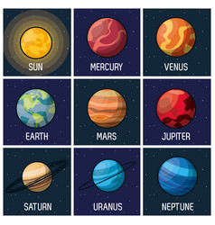Colorful background of frames with sun and planets vector