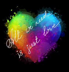 colorful neon heart vector image