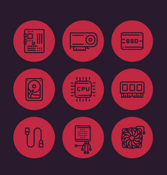 Computer components line icons set vector