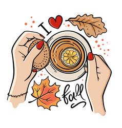 Cup autumn tea fall hand drawn vector